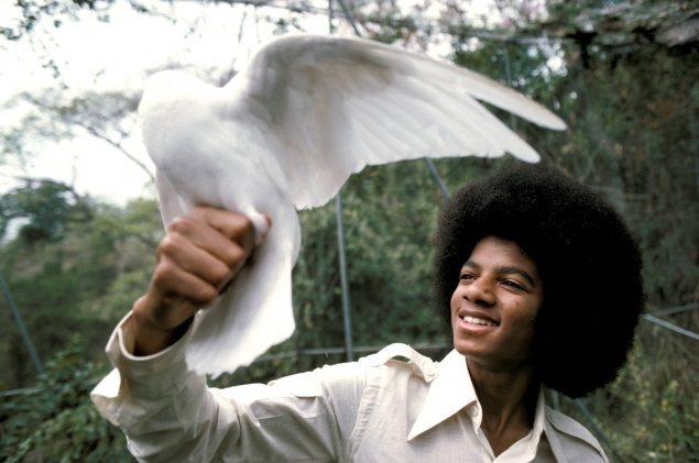 MJ with a bird in Jamaica